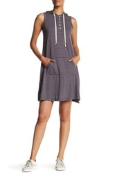 Allen Allen Stripe Hooded Tank Dress Gray