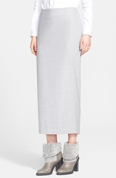 Fabiana Filippi Stretch Wool Blend Tube Midi Skirt Grey