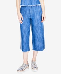 Rachel Roy Cotton Cropped Wide Leg Jeans Created For Macy's Medium Wash