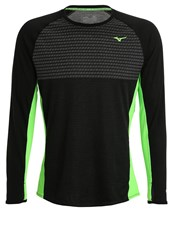 Mizuno Long Sleeved Top Black Green Gecko