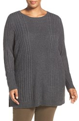 Caslonr Plus Size Women's Caslon Cable Knit Wool Blend Tunic Sweater Heather Charcoal