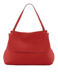 The Row Top Handle 14 Satchel Bag In Lux Grained Leather Magenta