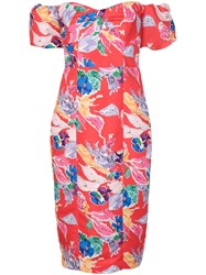 Milly Cara Bouquet Floral Print Dress Red