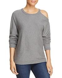 Minnie Rose Cold Shoulder Sweater Silver Gray