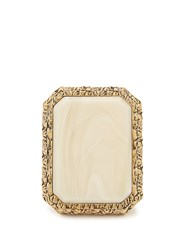 Balenciaga Marble Effect Gold Plated Ring Cream