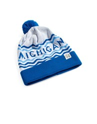 Tuck Shop Co. Michigan Striped Pompom Beanie Blue