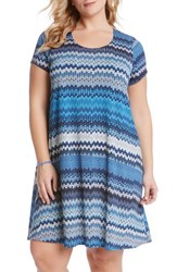Plus Size Women's Karen Kane 'Maggie Blue Mesa' Print Trapeze Dress