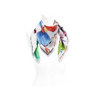 Christian Lacroix 90X90 Sweetie Square Scarf In White Silk Twill