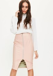 Missguided Pink Faux Leather Zip Through Midi Skirt Blush