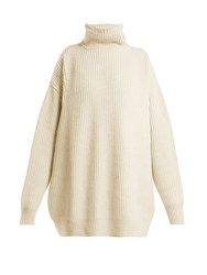 Raey Displaced Sleeve Roll Neck Wool Sweater Ivory