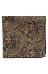 Men's Robert Talbott Paisley Floral Wool Pocket Square Brown