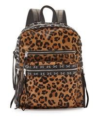 Ash Billy Leopard Print Laced Backpack Leopard Black