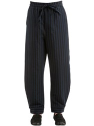 Damir Doma 25Cm Striped Cotton Blend Pants Indigo Coal