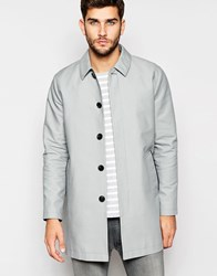Asos Shower Resistant Single Breasted Trench Coat In Grey Grey