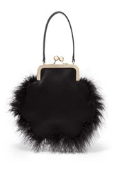 Simone Rocha Flower Feather Trimmed Satin Tote Black