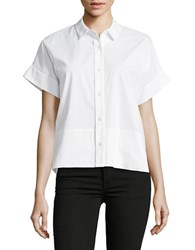 Lord And Taylor Side Slit Short Sleeve Shirt White