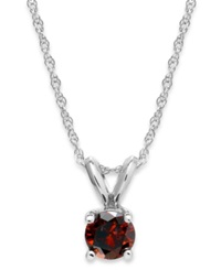 Macy's 10K White Gold Red Diamond Pendant Necklace 1 4 Ct. T.W.