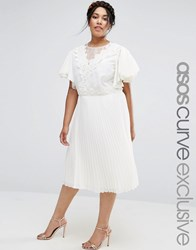 Asos Curve Pleated Skirt Midi Dress With Crochet And Organza Detail Cream