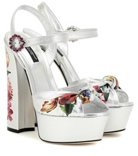 Dolce And Gabbana Keira Leather Plateau Pumps Silver