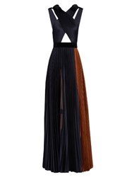 Roksanda Ilincic Mehtroa Pleated Silk Blend Satin Gown Blue Multi
