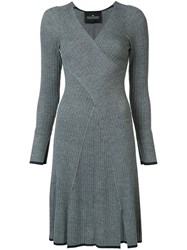 Designers Remix Striped Rib Knit Dress Grey