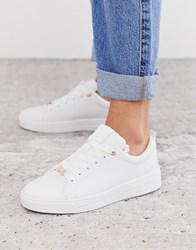 Ted Baker White Leather Trainers With Rose Gold