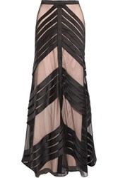 Temperley London Lilith Pleated Tulle Paneled Satin Maxi Skirt Black