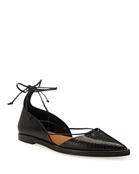Whistles Sida Embossed Lace Up Pointed Flats