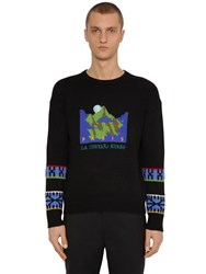 Kenzo Jacquard Mountain Artwork Wool Sweater Black