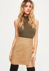 Missguided Nude Whipstitch Split Thigh Faux Suede Mini Skirt Tan