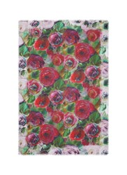 Franco Ferrari 'Danao' Rose Print Silk Modal Scarf Multi Colour