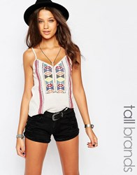 Glamorous Tall Embroidered Cami Top White