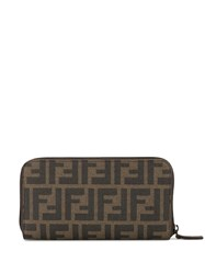 Fendi Pre Owned Zucca Pattern All Around Zipped Wallet Brown