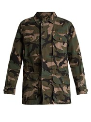 Valentino Camouflage Print Cotton Jacket Green Multi
