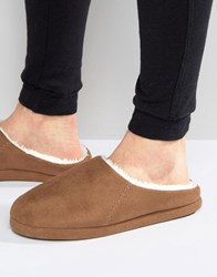 Asos Slip On Slippers In Tan With Sheerling Lining Tan