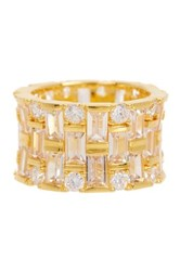 Gold Plated Sterling Silver Emerald Cut And Round Cut Wide Cz Band Ring Yellow