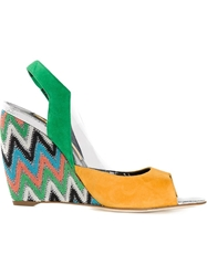 Rupert Sanderson Colour Block Zig Zag Wedges Yellow And Orange