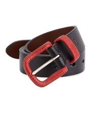 Saks Fifth Avenue Collection Leather Wrapped Buckle Belt Black Red