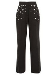Christopher Kane Crystal Wide Leg Trousers Black