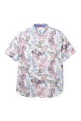 Tommy Bahama Diego Fronds Floral Print Shirt Big And Tall Deep Morel