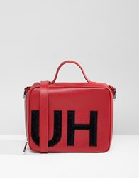 Hugo Handbag With Textured Logo Red Combi