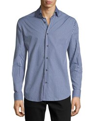 Neiman Marcus Gingham Long Sleeve Sport Shirt Blue Gray