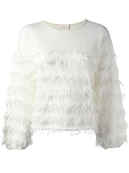 See By Chloe Fringed Long Sleeved Top White