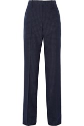 Gucci Polka Dot Cotton And Wool Blend Straight Leg Pants Navy