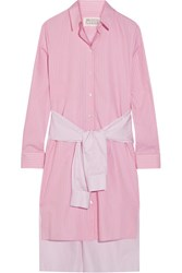 Maison Martin Margiela Tie Front Striped Cotton Poplin Shirt Dress Baby Pink