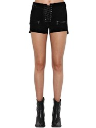 Unravel Velvet Lace Up Shorts Black
