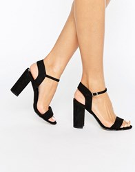 New Look Barely There Block Heeled Sandals Black