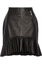 Mcq By Alexander Mcqueen Ruffle Trimmed Leather Skirt Black