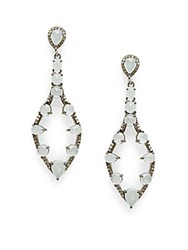 Bavna Diamond Aquamarine And Sterling Silver Drop Earrings