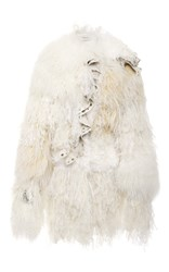 Rodarte Shearling And Chiffon Coat White
